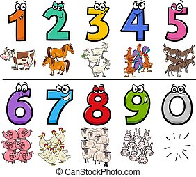 educational cartoon numbers set with farm animal characters