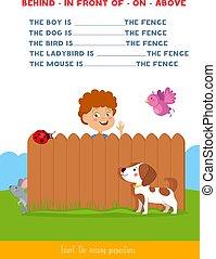 Insert the missing prepositions