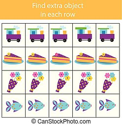 Educational children game. Logic game. Find extra object in row. What does not fit type