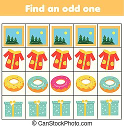 Educational children game. Logic game. Find odd one out in row. What does not fit type