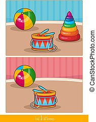 Educational children game. Logic game for kids. Find 3 differences.