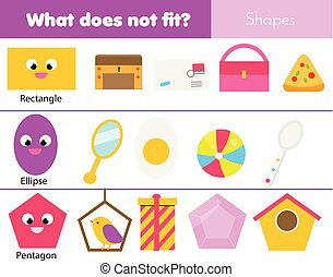 Educational children game. Logic game. What does not fit type. learning geometric shapes for kids and toddlers