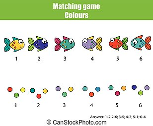 Educational children game. Match by color.