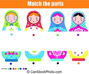 Educational children game. Match by color. Find halfs of matreshka doll