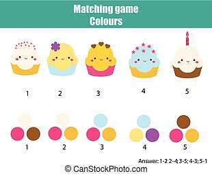 Educational children game. Match by color. Find pairs of cupcakes and colours