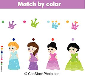 Educational children game. Match by color. Kids activity with cartoon princess