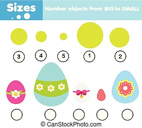educational children game. Match by size. Learning activity for kids and toddlers. Study big and small. Easter theme