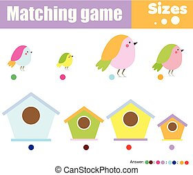 educational children game. Match by size. Learning activity for kids and toddlers. Study big and small