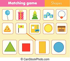 Educational children game. Matching game worksheet for kids. Match by shape. Learning geometric shapes
