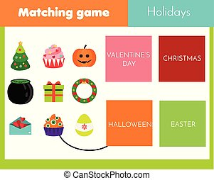 Educational children game. Matching game worksheet for kids. World holidays theme