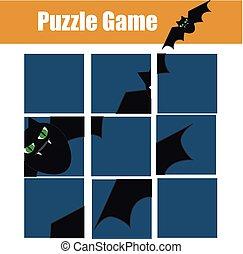 Educational children game. Puzzle kids activity. Halloween theme