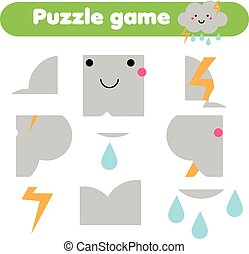 Educational children game. Puzzle kids activity. Weather theme