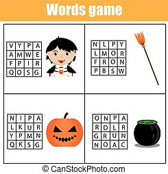 Educational children game. Word search puzzle kids activity. Learning vocabulary. Halloween theme
