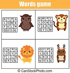 Educational children game. Word search puzzle kids activity. Animals theme. Learning vocabulary