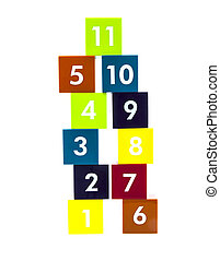 Educational colorful numer blocks with different numbersin a tower on white background