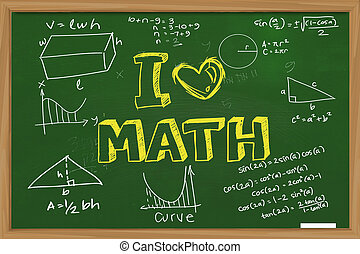 I Love Math - Educational concept the words I Love Math with...