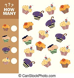 Educational counting game for preschool kids. How many cupcakes
