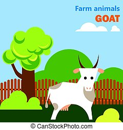 Educational flashcard with goat on the farm
