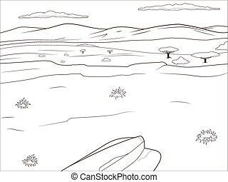 Educational game coloring book african savannah cartoon hand drawn vector illustration