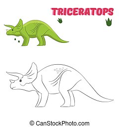 Educational game coloring book  dinosaur