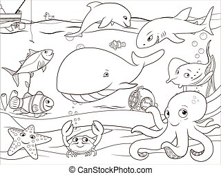 Educational game coloring book underwater life animals...