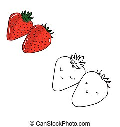 Educational game coloring book strawberry fruit