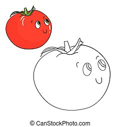Educational game coloring book tomato vector