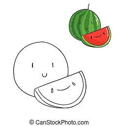 Educational game coloring book watermelon fruit