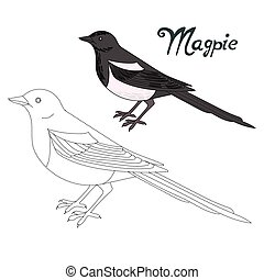Educational game connect dots to draw magpie bird -...