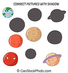 Educational game connect pictures with shadow