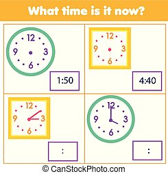 Educational game for chilcren. Draw time on clock. Learning hours and minutes. Teachers material for kids and toddlers
