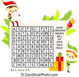 Educational game for children. Christmas Word search puzzle kids activity. New Year holidays theme learning vocabulary