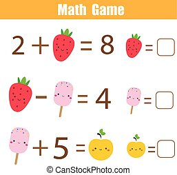 Educational game for children. Complete equations. Study...