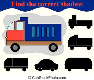 Educational game for children. Find the correct shadow of dump truck. Vector illustration.