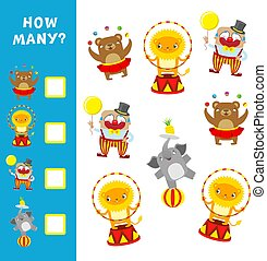 Educational game for children. How many circus characters....