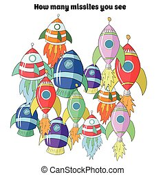 Educational game for children how many rockets