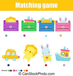Educational game for children, kids activity. Match toys with box. Study logic for pre school years toddlers