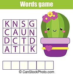 Educational game for children. Word search puzzle kids activity. Learning vocabulary