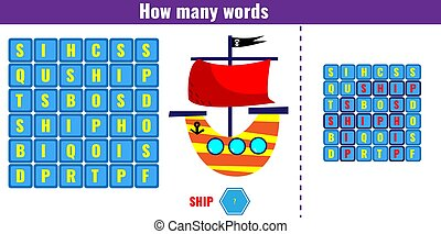 Educational game for children. Word search puzzle kids activity. Vector illustration