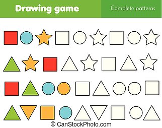 Educational game for kids. Complete pattern and continue the...