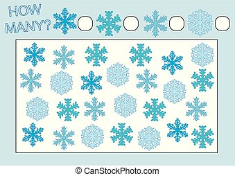 Educational game for kids. Count how many snowflakes. Vector illustration.