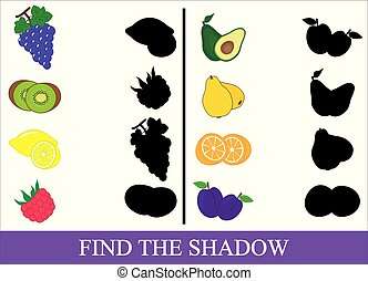 Educational game for kids. Find the correct shadow. Fruits and berries. Vector illustration