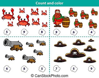 Educational game for preschool children. Count and color the circle with correct answer. Set of cartoon pirate characters. Vector illustration