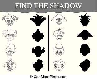 Educational game for preschool children. Find the shadows of clown's faces and color them.