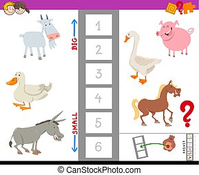 educational game with large and small farm animals