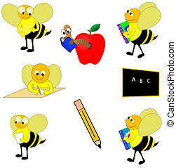 Round educational design elements including chalk board, apple, pencil, bees and more.