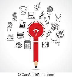 educational icon around pencil - set of educational icon...