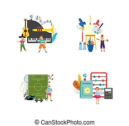Educational illustrations - music, physical education, art ...