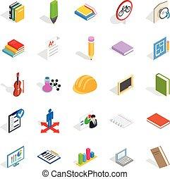 Educational institution icons set, isometric style