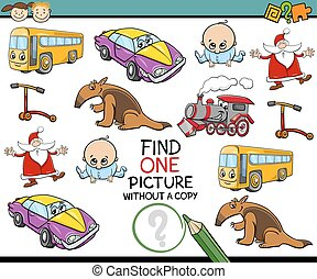 Cartoon Illustration of Educational Game of Single Picture Search for Preschoolers